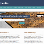 screen shot of the front page of Cetis's main site.